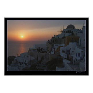 Sun Sets on Santorini Poster