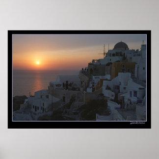 Sun Sets on Santorini Posters