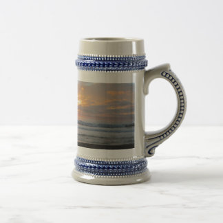 Sun Sets on Snoozing Elephant Seals Beer Stein