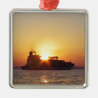 Sun Setting Behind A Container Ship Silver-Colored Square Decoration