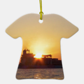 Sun Setting Behind A Container Ship Ceramic T-Shirt Decoration