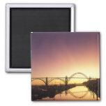 Sun setting behind the Newport Bridge, Oregon 2 Inch Square Magnet
