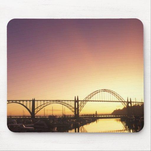 Sun setting behind the Newport Bridge, Oregon Mouse Pad