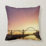 Sun setting behind the Newport Bridge, Oregon Pillow