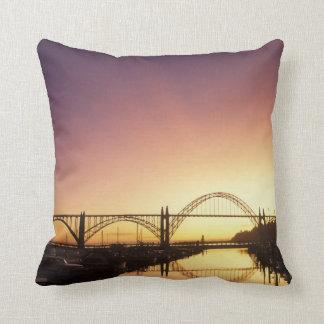 Sun setting behind the Newport Bridge, Oregon Throw Pillows