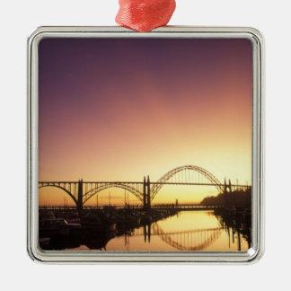 Sun setting behind the Newport Bridge, Oregon Square Metal Christmas Ornament