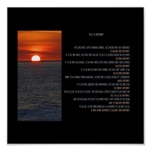 """Sun Setting """"Do It Anyway"""" Poster"""