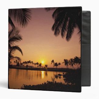 Sun setting on Anaeho'omalu Bay, Big Island, 3 Ring Binder