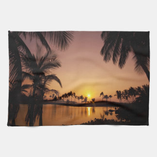 Sun setting on Anaeho'omalu Bay, Big Island, Kitchen Towels