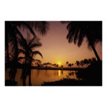 Sun setting on Anaeho'omalu Bay, Big Island, Posters