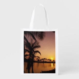 Sun setting on Anaeho'omalu Bay, Big Island, Reusable Grocery Bag