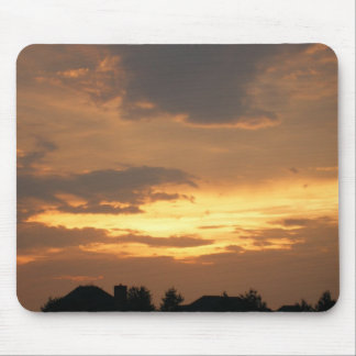 Sun Setting on Houses Mouse Pad
