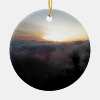 Sun Setting on Palomar Double-Sided Ceramic Round Christmas Ornament