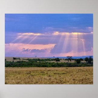 Sun setting on the Masai Mara. Poster