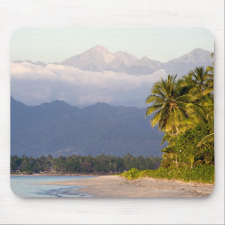 Sun Setting On Volcano With Tropical Beach Mouse Pad