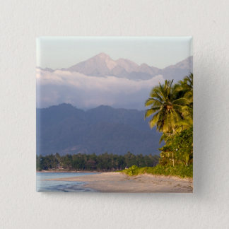 Sun Setting On Volcano With Tropical Beach Pinback Button