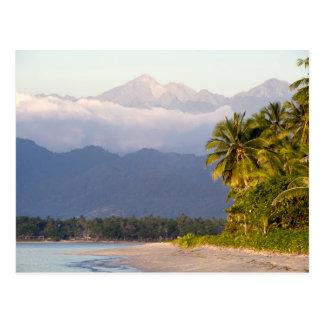 Sun Setting On Volcano With Tropical Beach Postcard