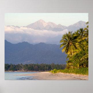 Sun Setting On Volcano With Tropical Beach Print