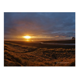 Sun setting over Tasman Sea and Piha Beach, West Postcard