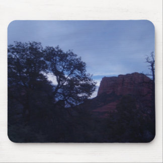 Sun setting through the trees in Sedona, on a mous Mouse Pad