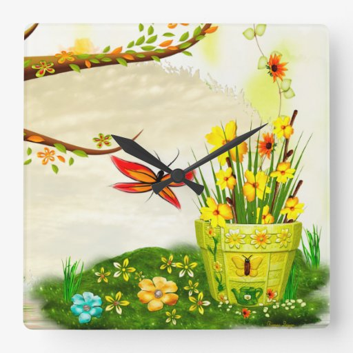 Sun Shiney Day Whimsical Nature Square Wall Clock