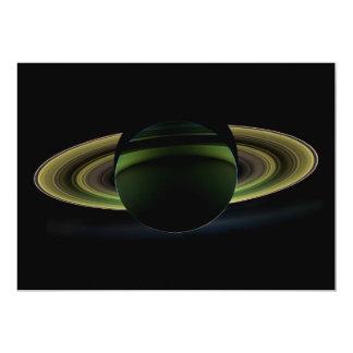 Sun Shining Behind Planet Saturn Casting a Shadow Card