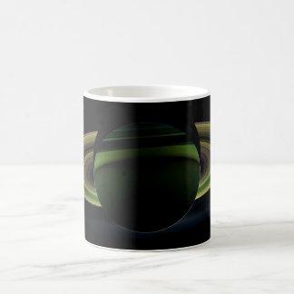 Sun Shining Behind Planet Saturn Casting a Shadow Coffee Mug