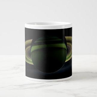 Sun Shining Behind Planet Saturn Casting a Shadow Large Coffee Mug