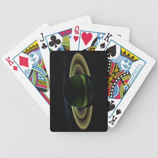 Sun Shining Behind Planet Saturn Casting a Shadow Bicycle Playing Cards