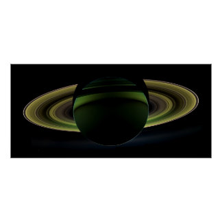 Sun Shining Behind Planet Saturn Casting a Shadow Poster