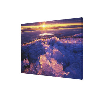 Sun Shining on Ice Stretched Canvas Print