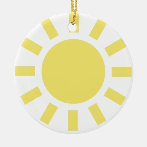 Sun: Símbolo de tiempo retro Adorno Navideño Redondo De Cerámica