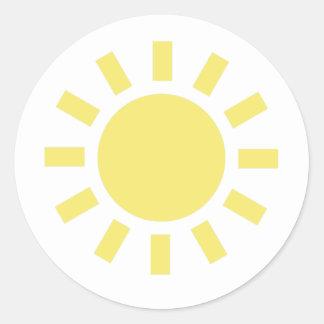 Sun: Símbolo de tiempo retro Etiquetas Redondas