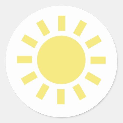 Sun: Símbolo de tiempo retro Pegatina Redonda