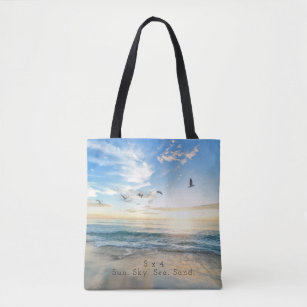 Sun Sky Sea Sand Beach Scene Tote Bag