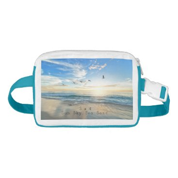 Beach Themed Sun. Sky. Sea. Sand. Beach Scene Waist Bag