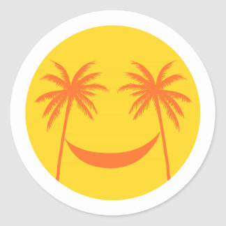 sun smiley with palm trees and hammock classic round sticker