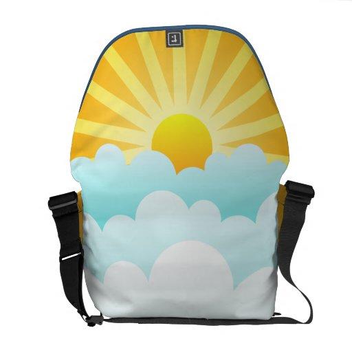 Sun sobre la bolsa de mensajero del carrito de las bolsas de mensajeria