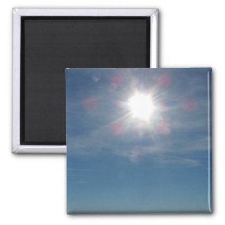Sun sobre la fotografía del océano imán cuadrado