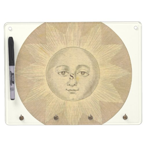 Sun - Solar Detail from Antique Map circa 1780 Dry Erase Board With Keychain Holder