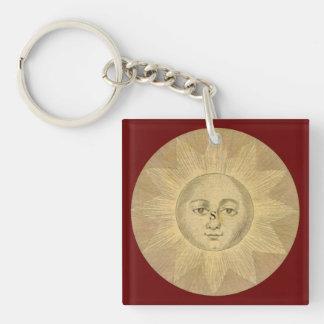 Sun - Solar Detail from Antique Map circa 1780 Keychain