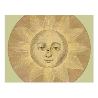 Sun - Solar Detail from Antique Map circa 1780 Postcard