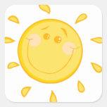 Sun soleado lindo calcomanía cuadradase