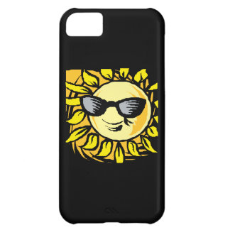 Sun sonriente fresco en caja negra del iPhone 5 de