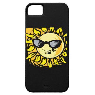 Sun sonriente fresco en caja negra del iPhone 5 de iPhone 5 Cárcasas