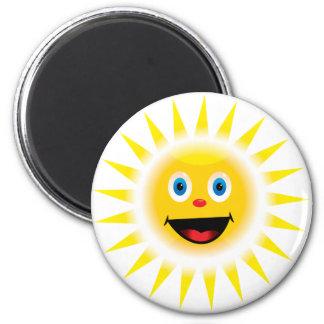 Sun sonriente imán redondo 5 cm