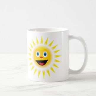 Sun sonriente taza básica blanca