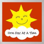 Sun sonriente un poster de la recuperación del día