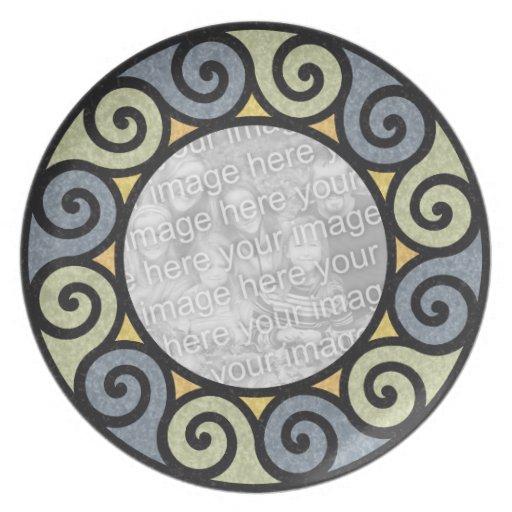 Sun Spirals Custom Photo Frame Blue Green Yellow Plate