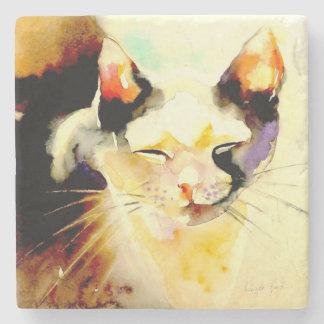 """Sun Spot"" Cat Print Stone Coaster"